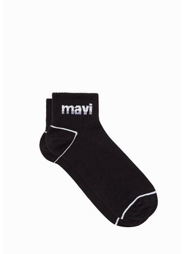 Mavi Mavi Logo Baskılı  Soket Çorap Siyah